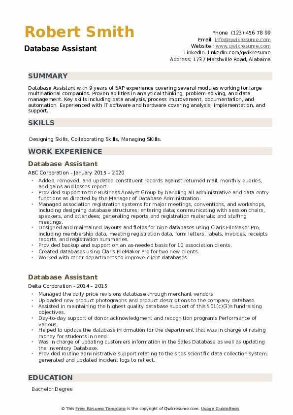 Database Assistant Resume example