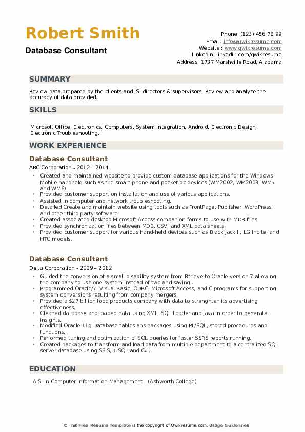 Database Consultant Resume example