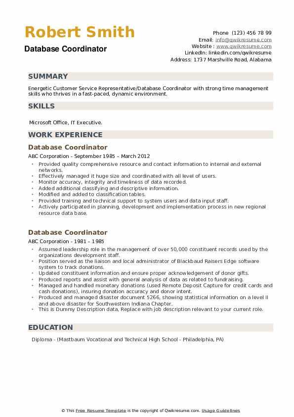 database coordinator resume samples  qwikresume