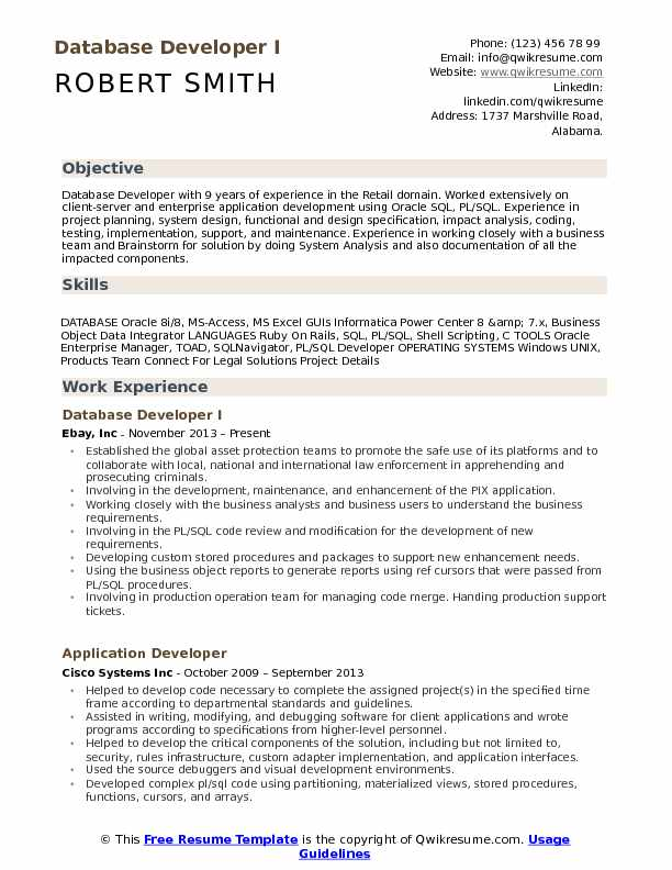 Database Developer I Resume Format