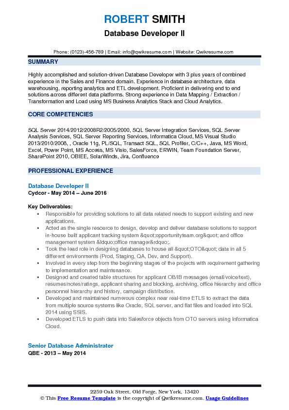 Database Developer II Resume Template