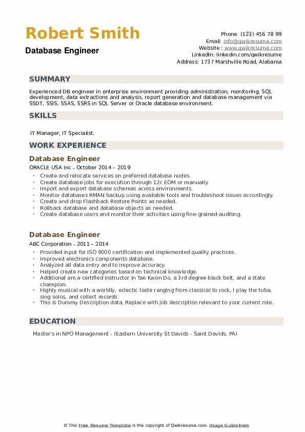 Database Engineer Resume example