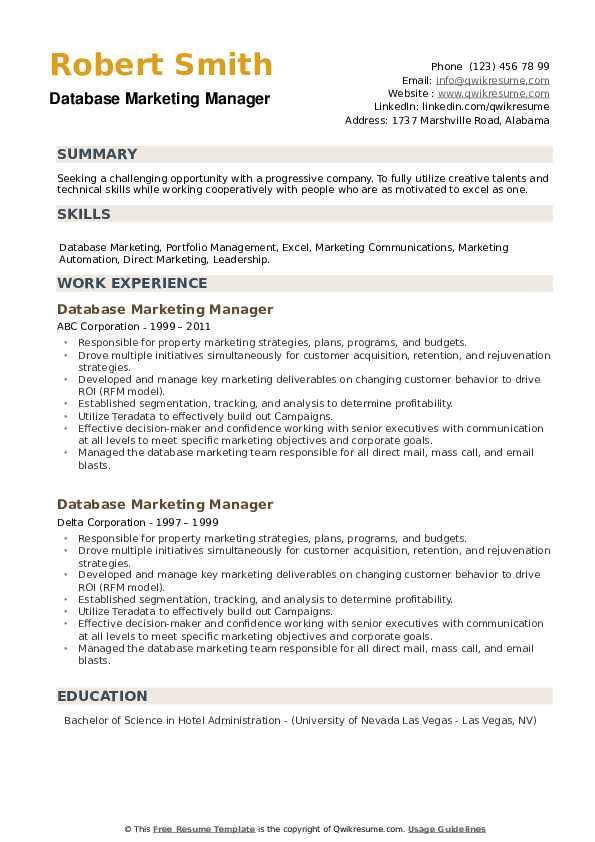 Database Marketing Manager Resume example