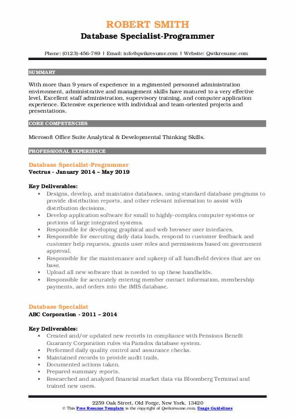 Database specialist resume esl term paper writers for hire for mba