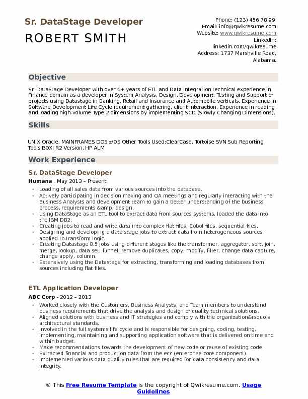 Sr. DataStage Developer Resume Model