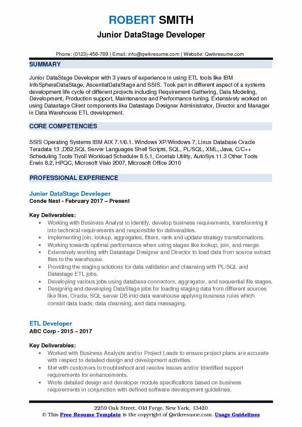 Junior DataStage Developer Resume Template