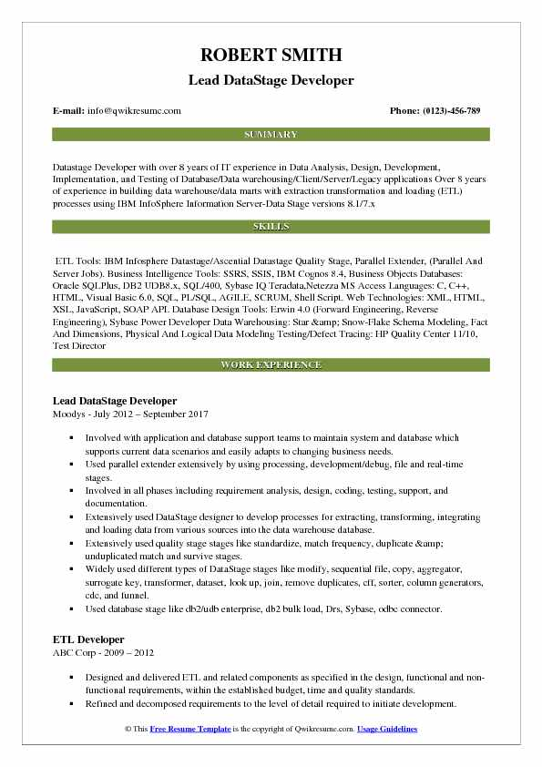 Lead DataStage Developer Resume Sample