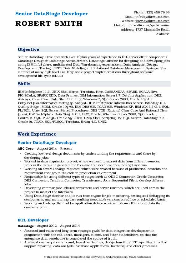 datastage developer resume samples