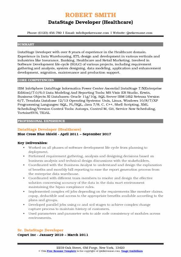 DataStage Developer (Healthcare) Resume Template