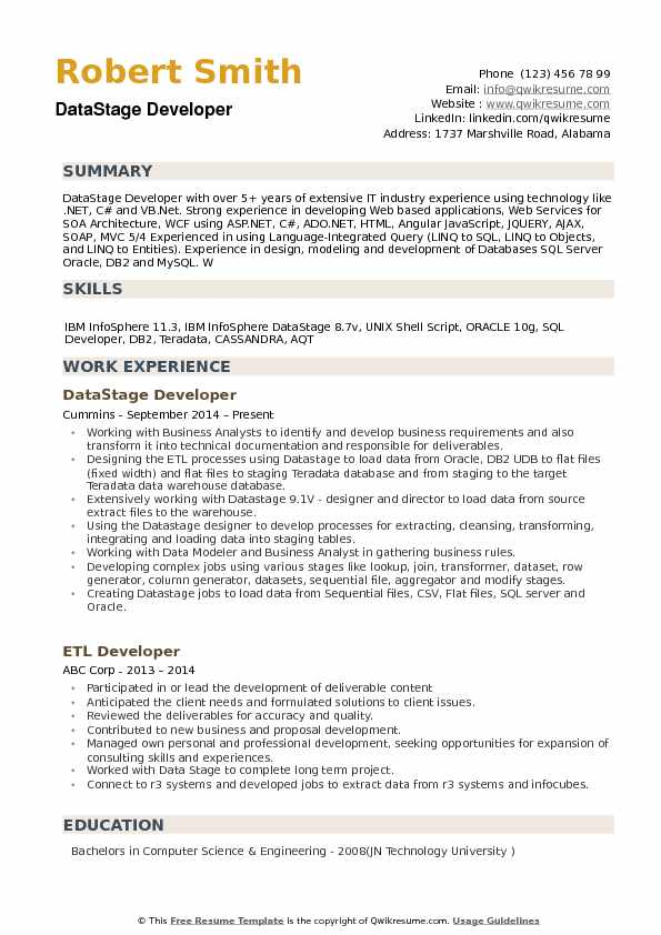 Datastage Developer Resume Samples Qwikresume