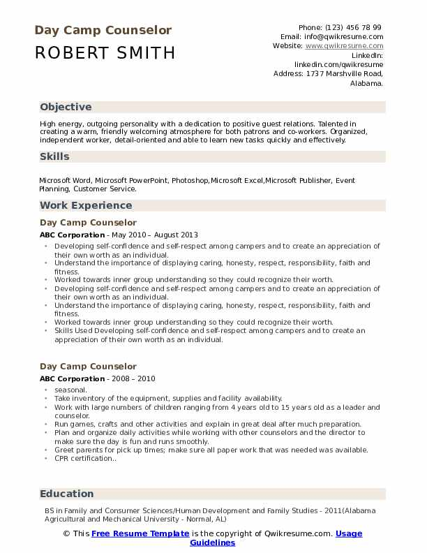 Day Camp Counselor Resume Example