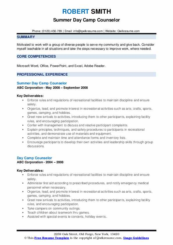 Summer Day Camp Counselor Resume Sample
