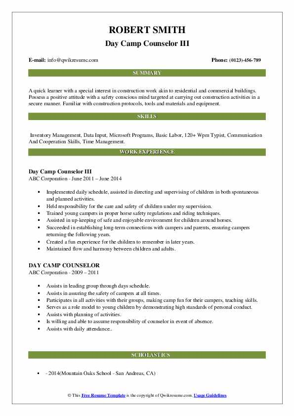 Day Camp Counselor III Resume Model