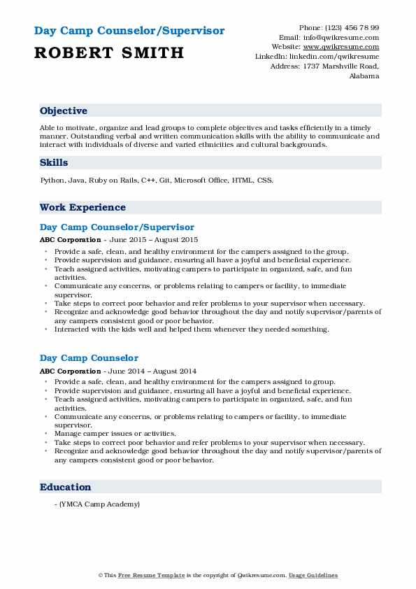 Day Camp Counselor/Supervisor Resume Format