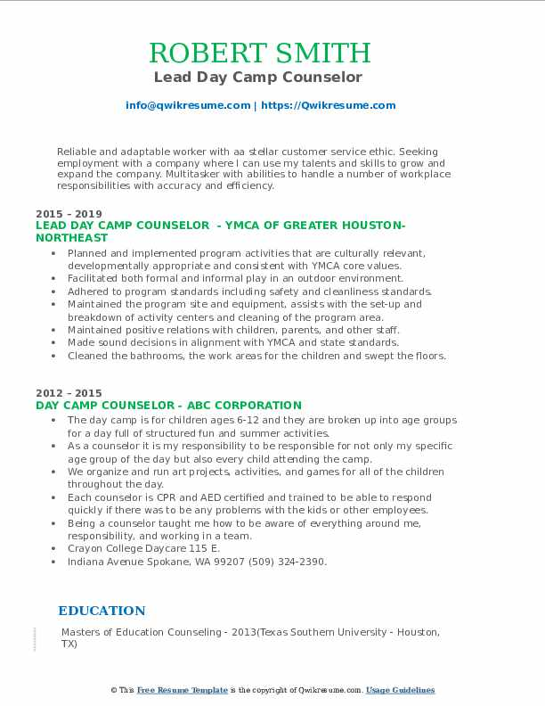 Lead Day Camp Counselor  Resume Sample