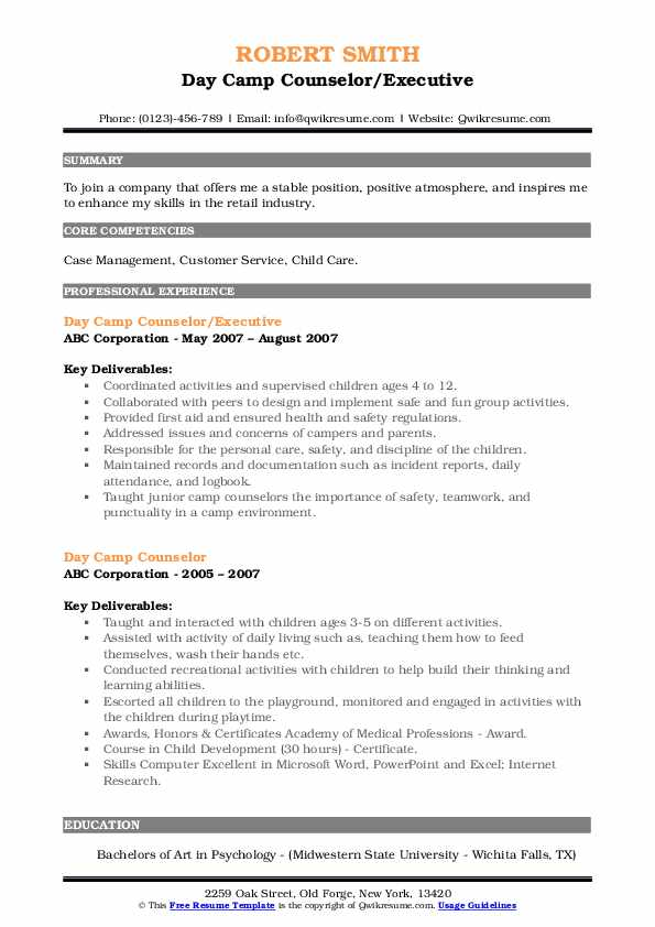 Day Camp Counselor/Executive Resume Model
