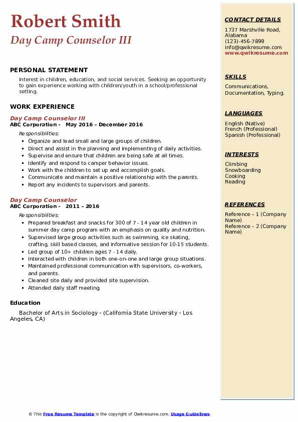 Day Camp Counselor III Resume Example