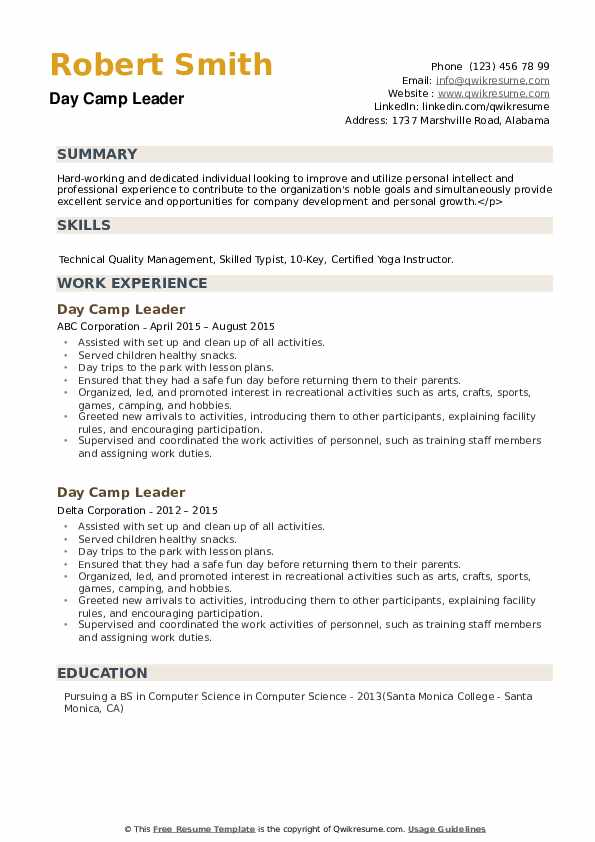 Day Camp Leader Resume example