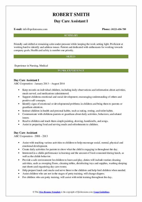 Day Care Assistant Resume Samples Qwikresume
