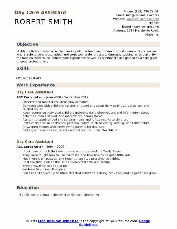 Day Care Assistant Resume example