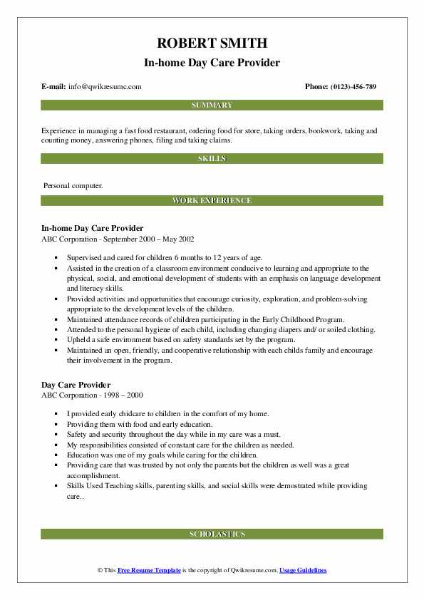 In-home Day Care Provider Resume Format