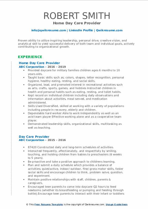 Home Day Care Provider Resume Model