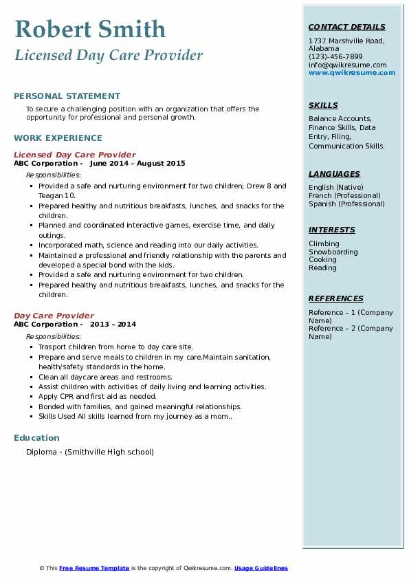 Licensed Day Care Provider Resume Sample