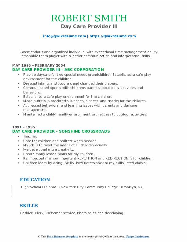 Day Care Provider III Resume Format