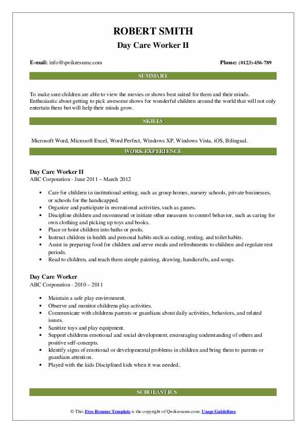 day care worker resume samples  qwikresume