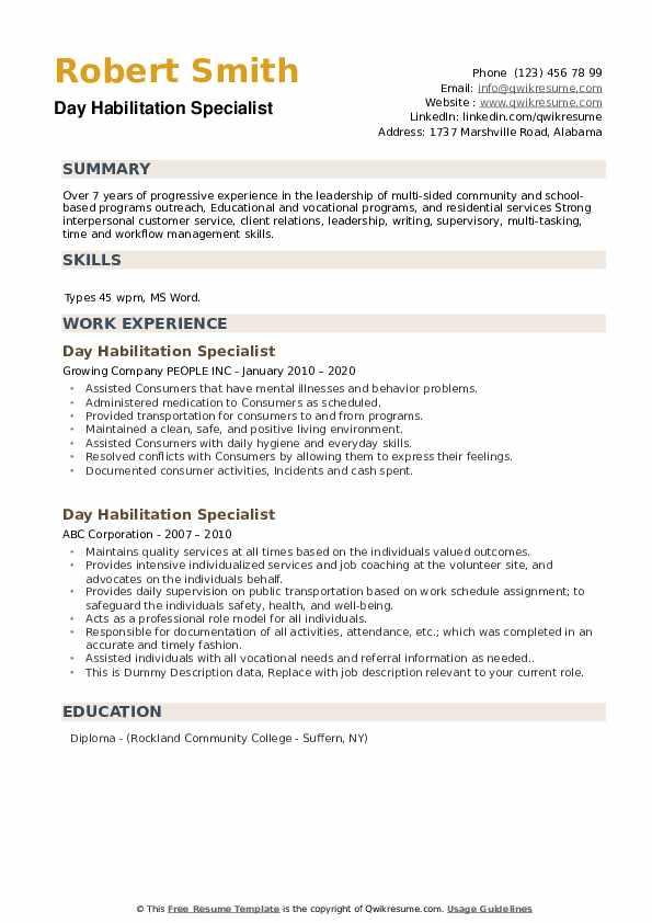 Day Habilitation Specialist Resume example