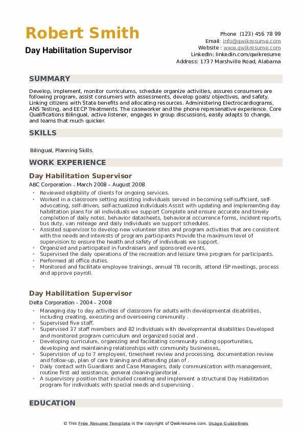 Day Habilitation Supervisor Resume example