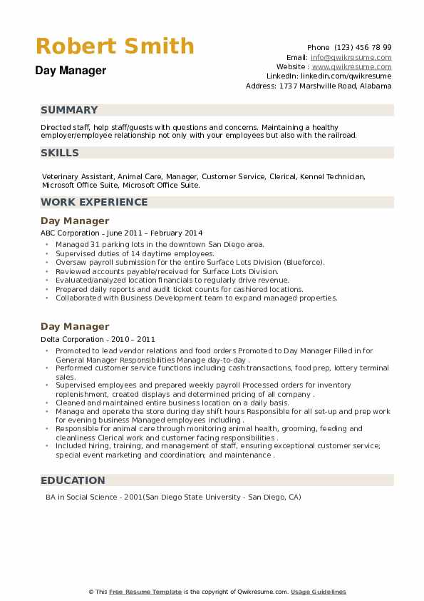 Day Manager Resume example