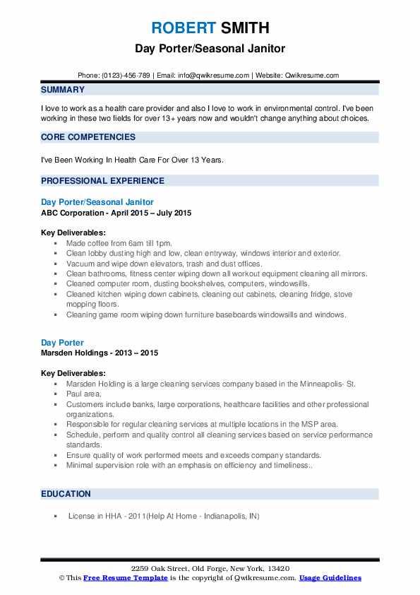 Day Porter/Seasonal Janitor Resume Sample