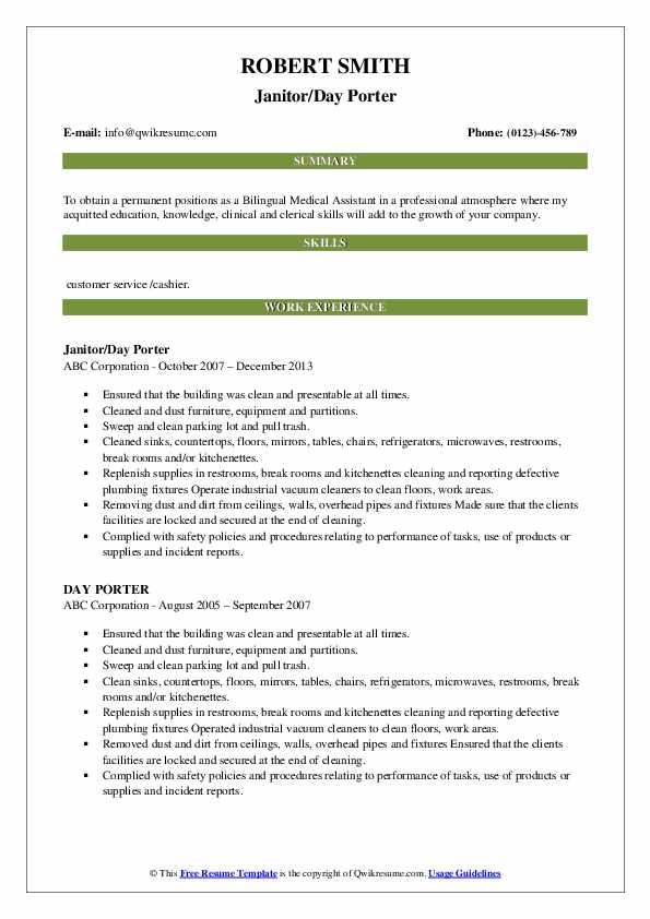Janitor/Day Porter Resume Model