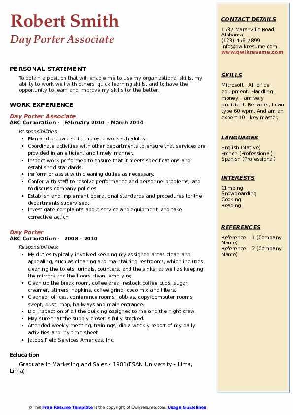 Day Porter Associate Resume Format