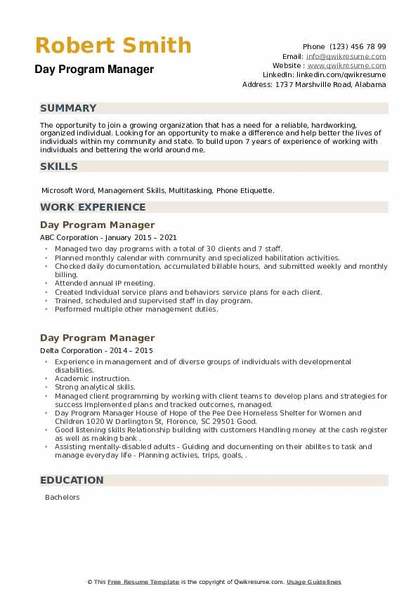 Day Program Manager Resume example