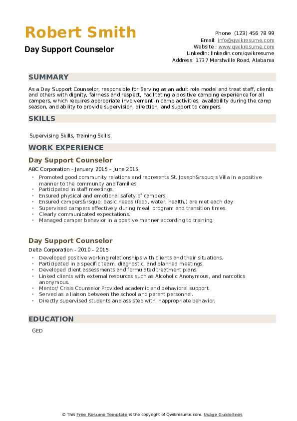 Day Support Counselor Resume example