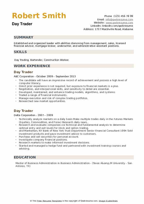 Day Trader Resume example