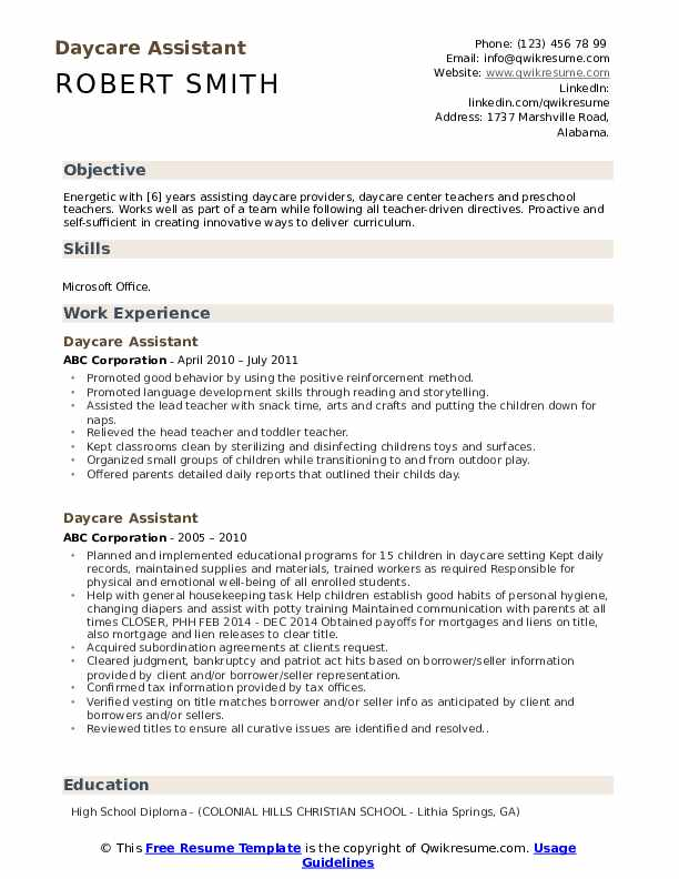 Daycare Assistant Resume Format