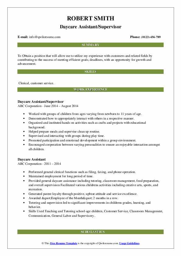 Daycare Assistant/Supervisor Resume Sample