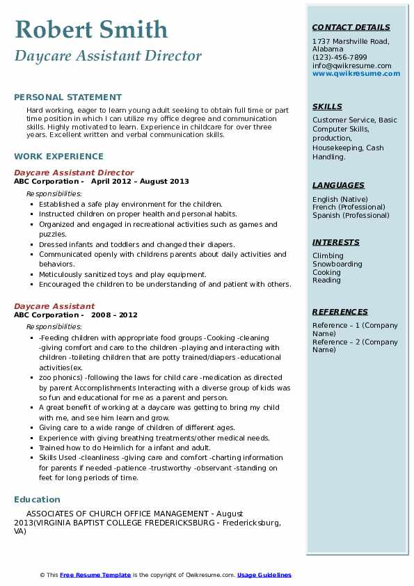 Daycare Assistant Director Resume Template