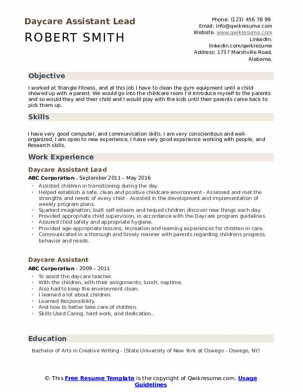 Daycare Assistant Lead Resume Template