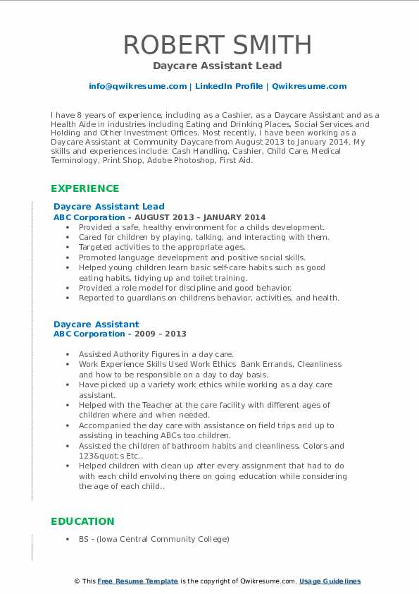 Daycare Assistant Lead Resume Model