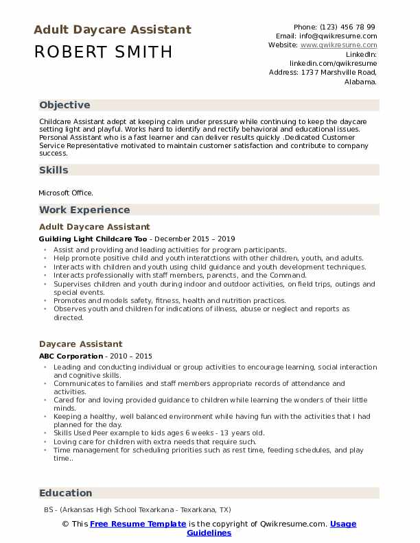 Daycare Teacher Resume Model