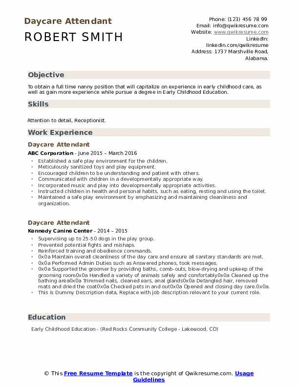 Daycare Attendant Resume example