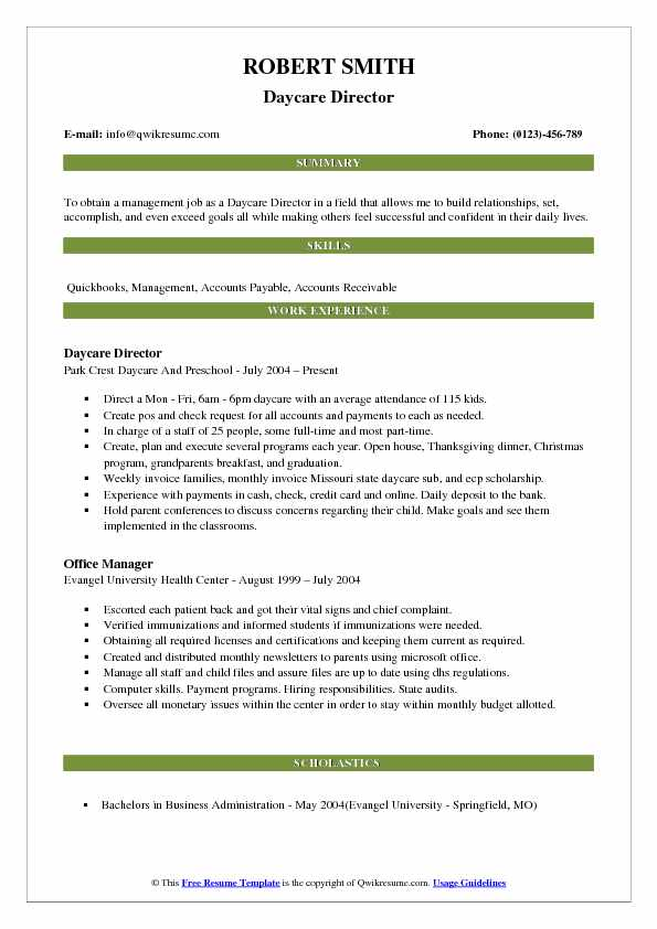 Daycare Director Resume Sample