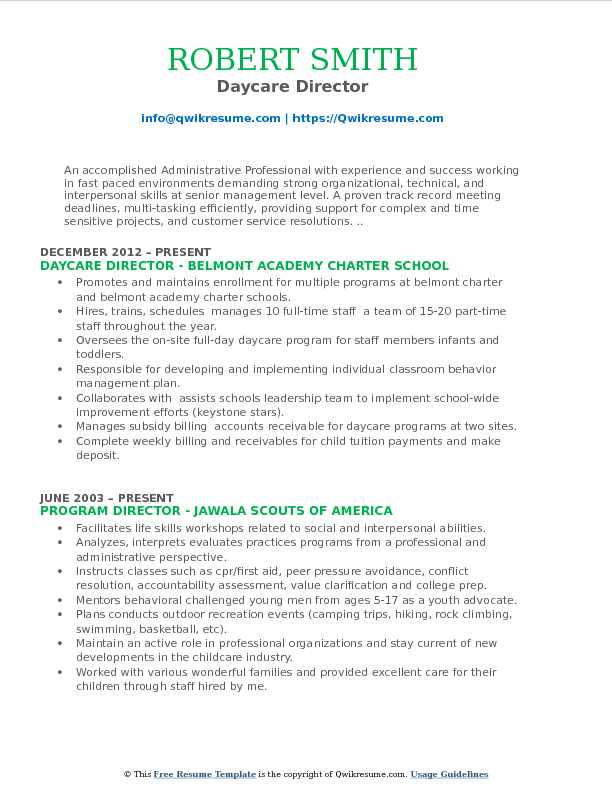 Daycare Director Resume Model