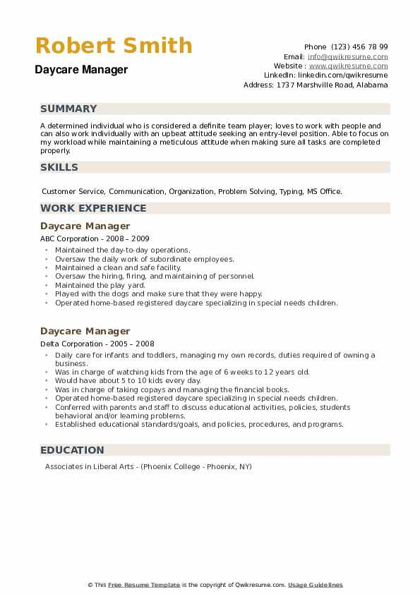 Daycare Manager Resume example