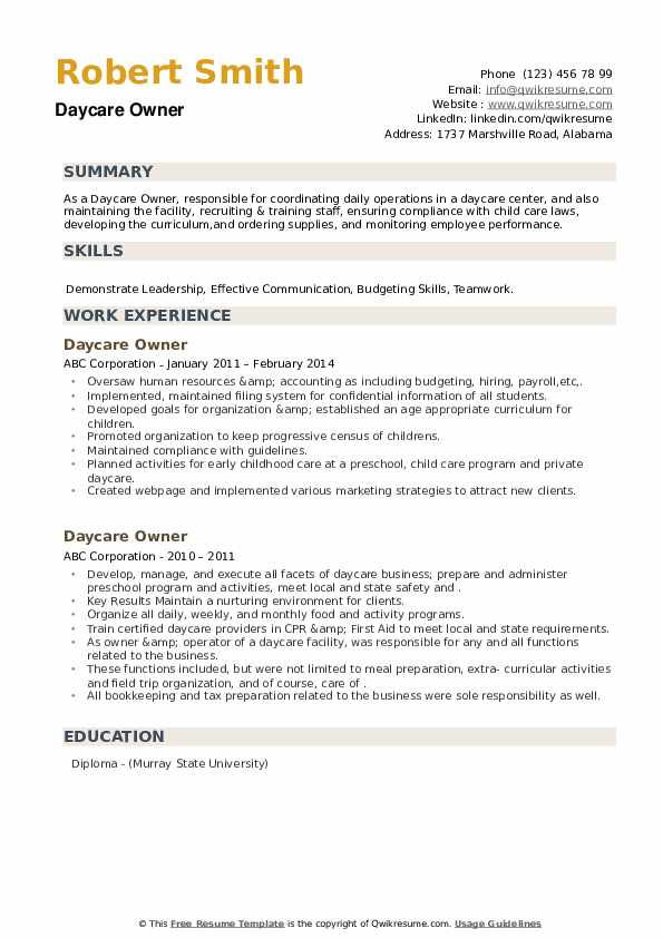 Daycare Owner Resume example