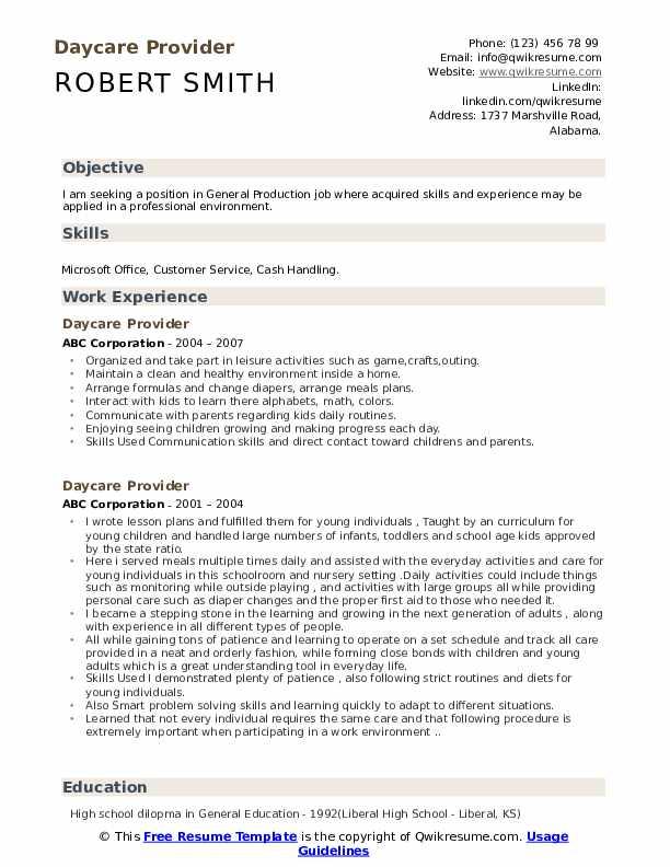 Daycare Provider Resume Template